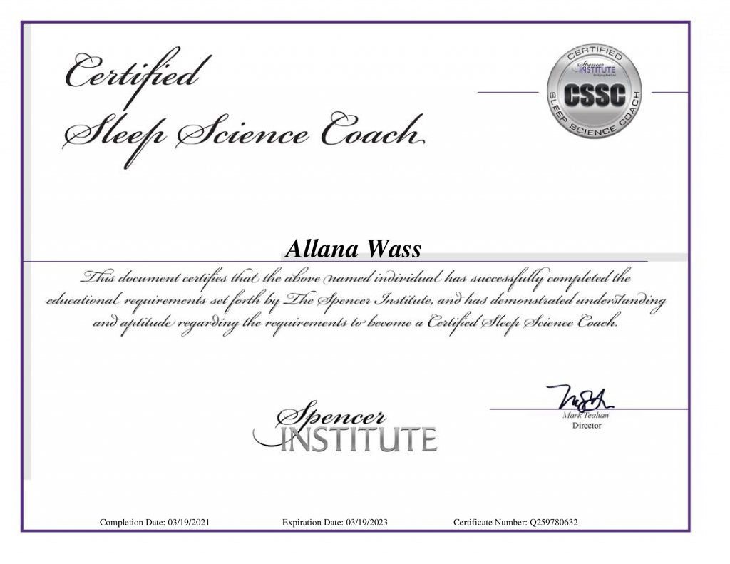 Certificate for Allana Wass